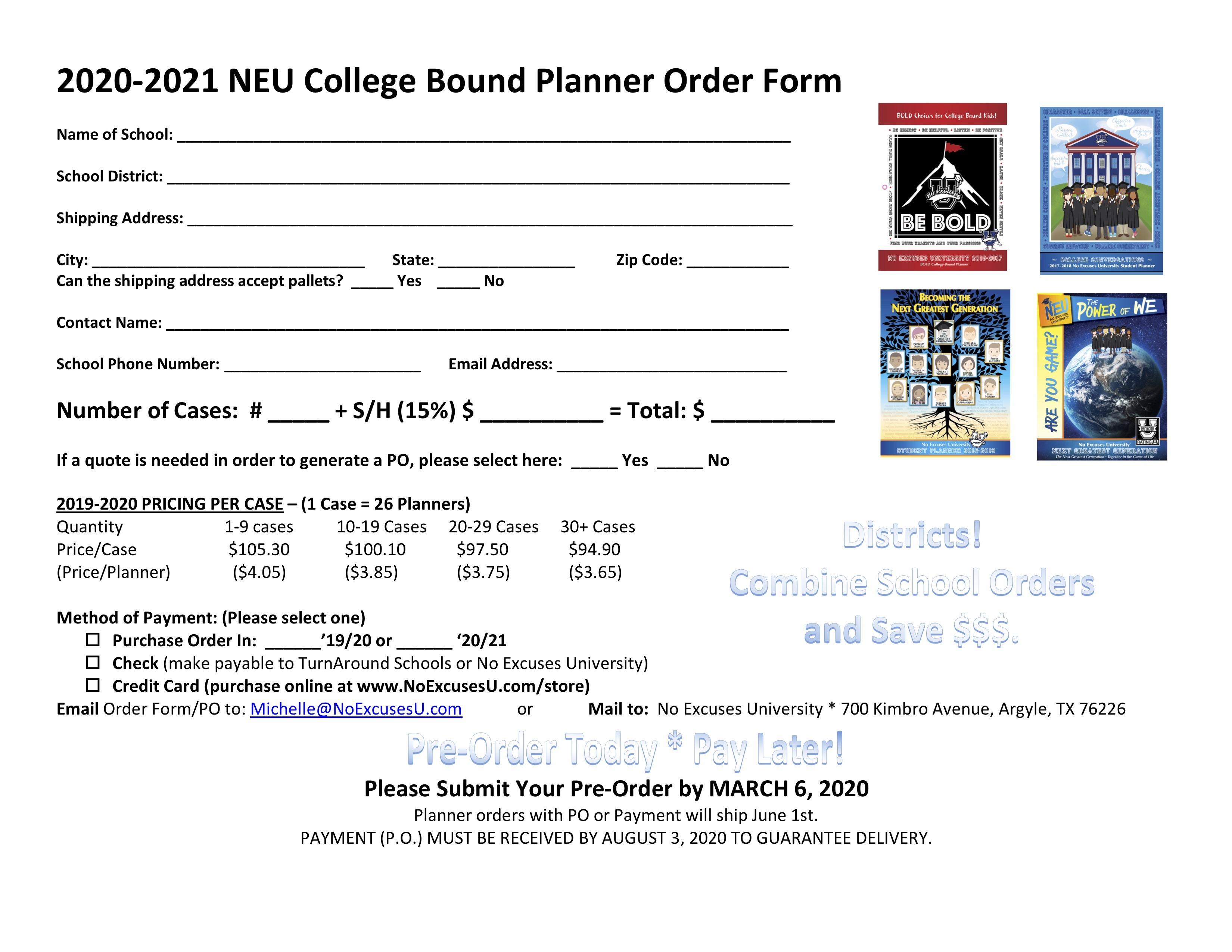 2020 2021 NEU Student Planner   No Excuses University